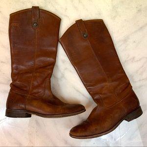 frye • warm chestnut brown melissa button boots 8